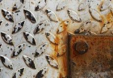 Powierzchnia biała farba na stali i ośniedziałej stali po używać przez długi czas Obraz Royalty Free