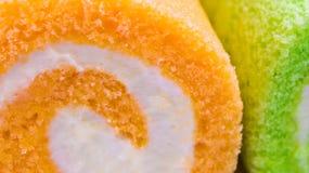 Powierzchnia pomarańcze i Pandan smak rolka zasycha fotografia stock