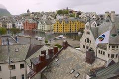 Powierzchowność Alesund miasta budynki w Alesund, Norwegia Obrazy Stock