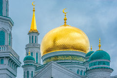 Powierzchowność główny meczet w Moskwa przy paskudnym dnia czasem Fotografia Stock