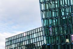 Powierzchowność Harpa filharmonia w Reykjavik, Iceland Zdjęcie Stock