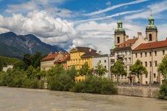 Powierzchowność Innsbruck katedra podczas dnia fotografia stock