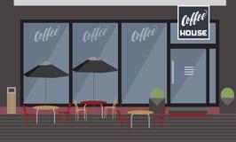 Powierzchowność kawa dom z ogrodową restauracją, stołami i Chai, ilustracji