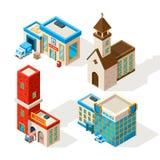 Powierzchowność miejscy budynki Wektoru 3d obrazki ilustracji