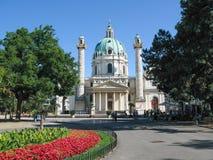 Powierzchowność St Charles kościół w Wiedeń, Austria (Karlskirche) Fotografia Stock