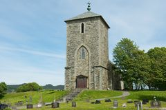 Powierzchowność St Olav kościół przy Avaldsnes w Kamroy, Norwegia Obrazy Royalty Free