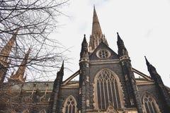 Powierzchowność St Patrick katedra w Melbourne fotografia stock
