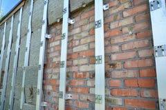 Powierzchowności izolaci Domowa ściana Plenerowa Domowa izolacja & Obniżona upał strata Plenerowi dla Energooszczędnego Fotografia Stock