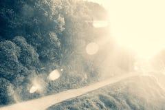 Powietrze fliied z denną kiścią z wieczór lekki łączyć dla obiektywu racy fotografia stock