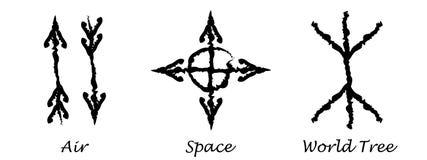 powietrze przestrzeń Światowy drzewo Alchemia wektoru ikony Slawistyczni amuletów symbole również zwrócić corel ilustracji wektor Fotografia Royalty Free