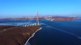 Powietrzna ankieta żołnierz piechoty morskiej krajobraz z widokami rosjanina most zbiory wideo