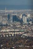 Powietrzna fotografia, śródmieście europejski miasto frankfurt magistrala Germany obrazy stock