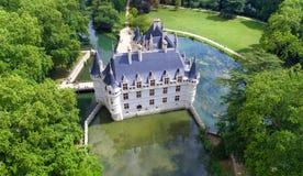Powietrzna fotografia azay Le Rideau kasztel zdjęcie royalty free