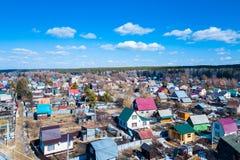 Powietrzna fotografia chałupy wioska obraz stock