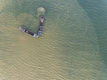 Powietrzna fotografia - dwa statek przy oceanem obrazy royalty free