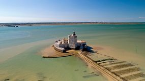 Powietrzna fotografia fort Louvois w Charente Morskim obrazy royalty free