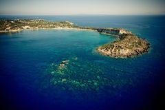 Powietrzna fotografia gerakas wyrzucać na brzeg w Zakynthos obraz royalty free