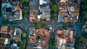 Powietrzna fotografia miastowe ulicy Południowy lub łaciński - amerykański miasto, to jest Medellin Kolumbia Obrazy Stock