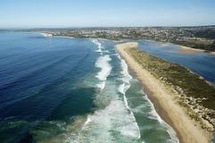 Powietrzna fotografia Plettenberg zatoka w Ogrodowej trasie, Południowa Afryka Obraz Stock