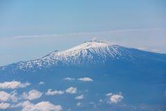 Powietrzna fotografia powulkaniczny szczyt Etna wulkan od Sicily, Włochy Fotografia Royalty Free