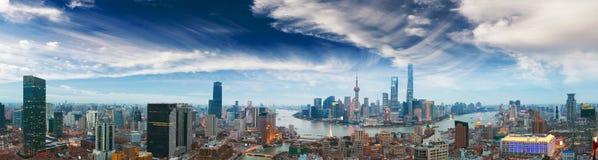 Powietrzna fotografia przy Szanghaj bund linią horyzontu panorama zdjęcia royalty free