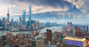 Powietrzna fotografia przy Szanghaj bund linią horyzontu zmierzch zdjęcia royalty free