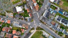 Powietrzna fotografia rozdroże w Nantes mieście, Francja zdjęcie stock