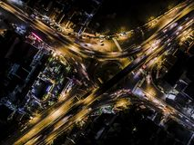 Powietrzna fotografia skrzyżowanie droga w Yogyakarta mieście fotografia royalty free