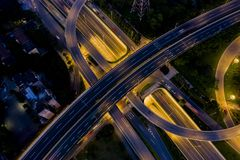 Powietrzna fotografia wiadukty w mieście zdjęcie stock