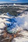 Powietrzna fotografia Yellowstone Parkowy Uroczysty Graniastosłupowy obraz stock