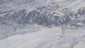 Powietrzna i wideo strzelanina nakrywać Kaukaskie góry od samolotu zbiory
