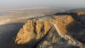 Powietrzna Massada Judejska pustynia, nieżywy denny teren w Izrael Fotografia Royalty Free