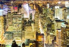 Powietrzna Miasto Nowy Jork noc Obrazy Royalty Free