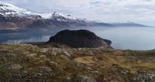 Powietrzna niecka Nad Holmanes UHD 4K trutniem Iceland zdjęcie wideo