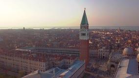 Powietrzna orbita nad San marco kwadratem przy wschód słońca w Venice Italy zbiory