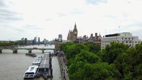 Powietrzna panorama środkowy Londyn, UK zdjęcie wideo