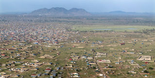 Powietrzna panorama Juba, Południowy Sudan Fotografia Stock