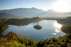 Powietrzna panorama Krwawić jezioro w Slovenia Zdjęcie Royalty Free