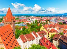 Powietrzna panorama Nuremberg, Niemcy Fotografia Stock