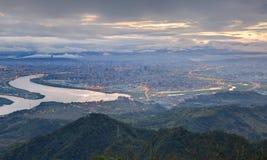 Powietrzna panorama ruchliwie Taipei Cit Zdjęcie Royalty Free