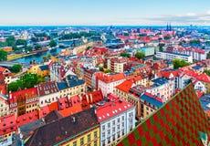 Powietrzna panorama Wrocławski, Polska Obrazy Stock