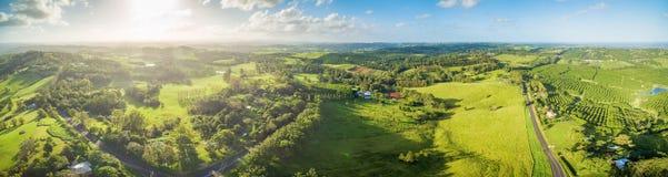 Powietrzna panorama zielona Australijska wieś Zdjęcia Stock
