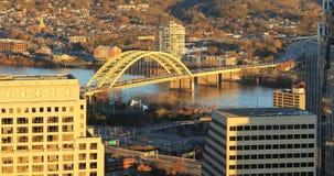 Powietrzna scena Cincinnati cand rzeka ohio zdjęcie royalty free