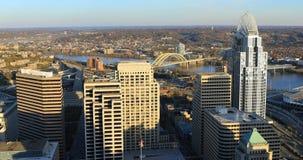 Powietrzna scena Cincinnati centrum miasta zdjęcie stock