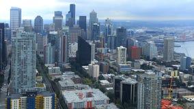 Powietrzna scena Seattle, Waszyngtoński śródmieście obraz stock