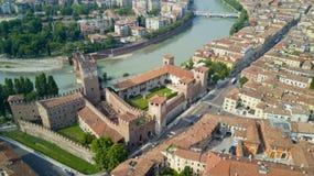 Powietrzna wideo strzelanina z trutniem Verona Zdjęcie Stock