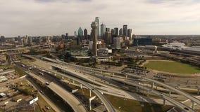 Powietrzne Dallas Teksas miasta linii horyzontu budynków W centrum autostrady zbiory