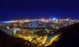 Powietrzne nocy Santa Cruz de Tenerife wyspy kanaryjska Zdjęcie Stock