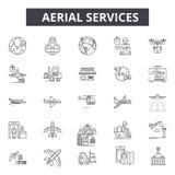 Powietrzne usługi linii ikony Editable uderzenie znaki Pojęcie ikony: transport, przemysłowy trandport, lotnisko, przewoźnik royalty ilustracja
