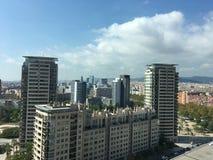 powietrznego Barcelona miasta halny linia horyzontu tibidabo w kierunku widok zdjęcie royalty free